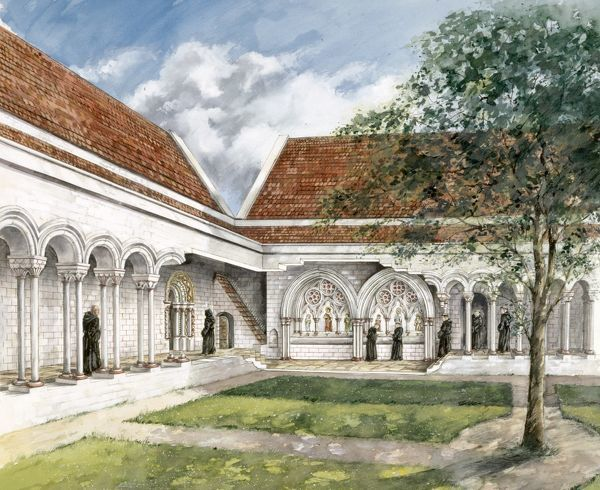 KIRKHAM PRIORY, North Yorkshire. Cutaway reconstruction drawing of the cloister in the 13th century showing the laver by Peter Dunn (English Heritage Graphics Team)