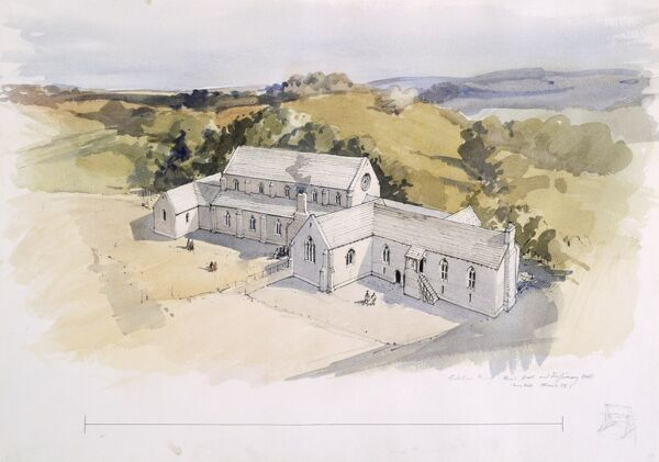 KIRKHAM PRIORY, North Yorkshire. Priors Hall and Infirmary Hall. Low level bird's-eye view. Reconstruction drawing by Terry Ball (English Heritage Graphics Team). 1989