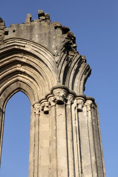 KIRKHAM PRIORY, North Yorkshire. Detail of the window tracery on the surviving block of the East end of the Church