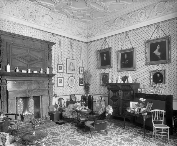 AUDLEY END HOUSE, Essex. Interior view of Lady Braybrooke's sitting room. This was the sitting room of the wife of the fifth Lord Braybrooke. Photographed by Harry Bedford Lemere in 1891