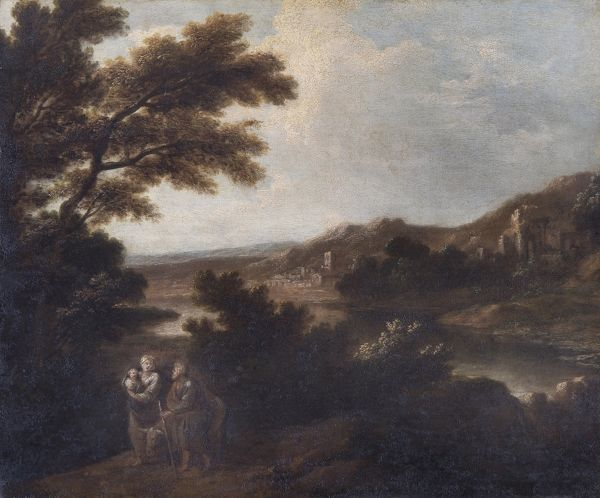 "APSLEY HOUSE, London. ""Landscape with Flight into Egypt"" provisionally an early work of Sir Joshua REYNOLDS (1723-92). WM 1545-1948"