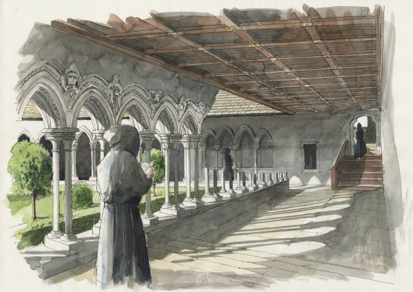 LANERCOST PRIORY, Cumbria. Reconstruction drawing of the cloister by Liam Wales