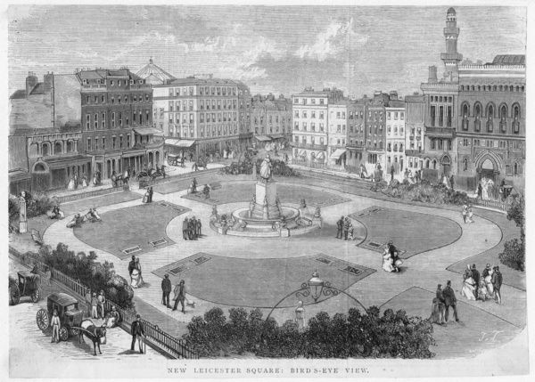 "MAYSON BEETON COLLECTION. ""New Leicester Square: Bird's Eye View"", London. Woodcut, 1874"