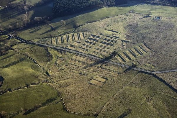 Healey, North Yorkshire. Aerial view of Leighton Construction Camp, a Prisoner of War camp during WWI