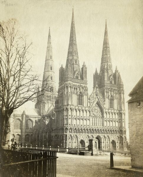 "Cathedral Church of the Blessed Virgin Mary and St Chad, Lichfield, Staffordshire, c 1860. Francis Bedford (1816-€""94), albumen print. Francis Bedford'€™s photograph, published by Thompson & Co, shows the west front of Lichfield Cathedral"