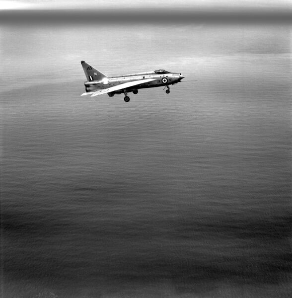 RAF English Electric Lightning F1 flying over the sea in 1968