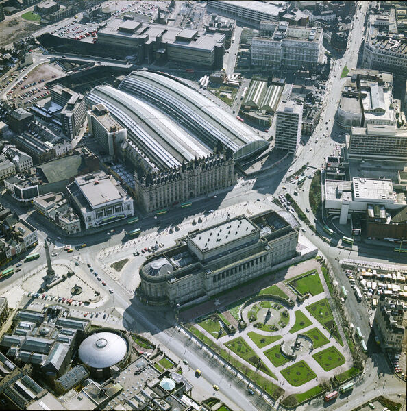 St Georges Hall, St Johns Gardens and Lime Street Railway Station, Liverpool, 1980