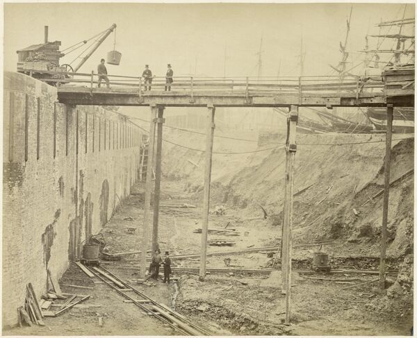 Limehouse Basin, Tower Hamlets, London. Construction of the expanded Limehouse Basin in May 1869