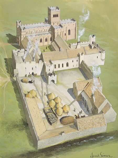 LINDISFARNE PRIORY, Holy Island, Northumberland. Aerial view reconstruction drawing by David Simon of the priory in the later Middle Ages from the South West