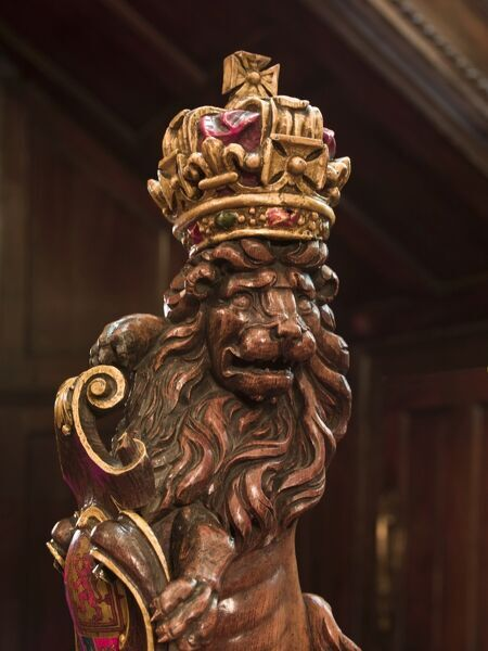 Vintners Hall, Upper Thames Street, City of London.   Interior detail of lion newel post in stair hall