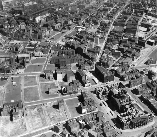 LIVERPOOL. Aerial view, 12th July 1946, showing the area around the five way junction of Duke Street, Hanover Street and Paradise Street (the former Sailors Home, now demolished, stands at the junction) in July 1946