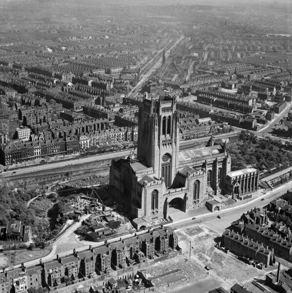 LIVERPOOL CATHEDRAL. The Anglican Cathedral in Liverpool was begun in 1904 to a design of Giles Gilbert Scott