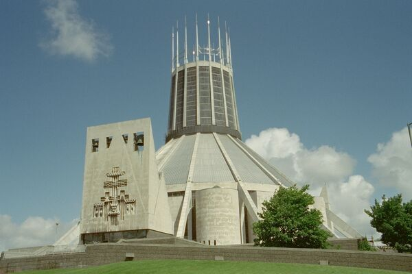 Roman Catholic Metropolitan Cathedral of Christ the King, 1962-7, with earlier crypt by Lutyens. IoE 359118