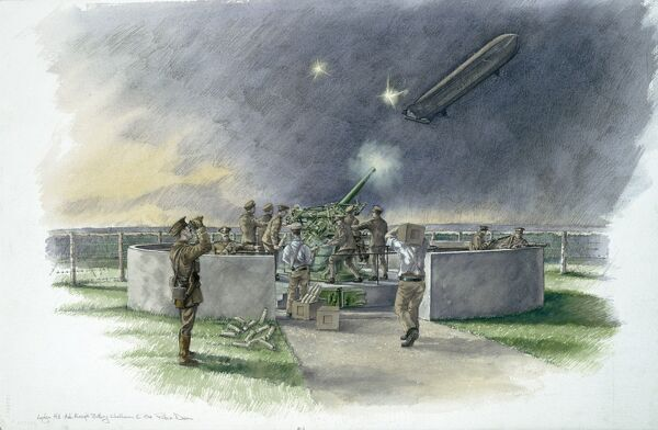 LODGE HILL BATTERY, Chatham, Kent. Reconstruction drawing of the First World War AA battery firing at German zeppelin, by Peter Dunn (English Heritage Graphics Team)