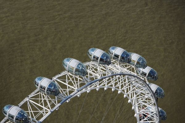 THE LONDON EYE, London. Aerial view showing a section of the wheel with the River Thames below