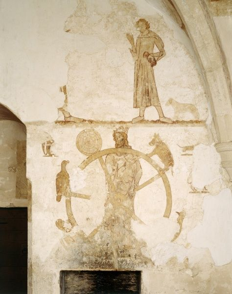 LONGTHORPE TOWER, Cambridgeshire. Interior view. East wall mural depicting the wheel of the five senses