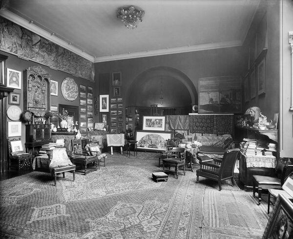 LEIGHTON HOUSE, 12 Holland Park Road, London. Home of the artist Lord Frederic Leighton (1830 - 1896) which is now a museum. Interior view of the studio displaying recently completed works. Photographed by Bedford Lemere in 1895