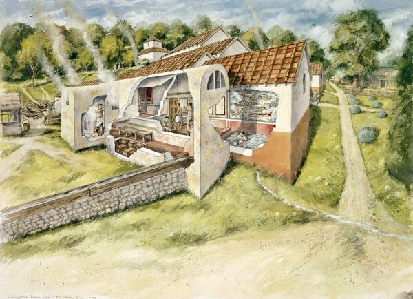 LULLINGSTONE ROMAN VILLA, Kent. Cutaway reconstruction drawing of the baths c.380 AD by Peter Dunn (English Heritage Graphics Team)