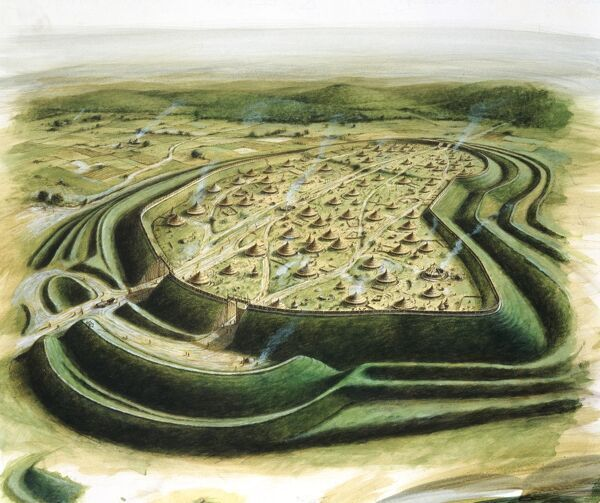 MAIDEN CASTLE, Dorset. Aerial view reconstruction drawing by Paul Birkbeck