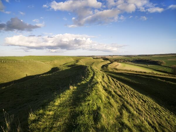 MAIDEN CASTLE, Dorset. View along the ramparts