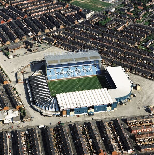 MAINE ROAD STADIUM, Manchester. Aerial view. The former home of Manchester City Football Club in May 1997. City with Kinkladze and Rosler finished 13th in the First Division that season. Aerofilms Collection (see Links)