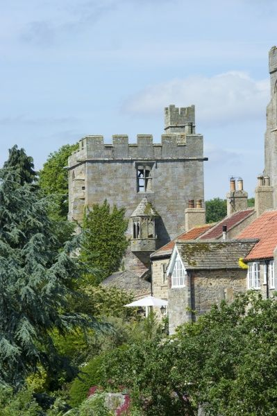 MARMION TOWER, West Tanfield, North Yorkshire. The 15th century gatehouse from the East