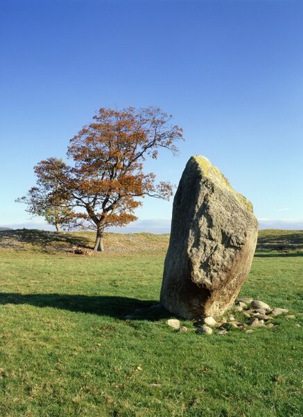 MAYBURGH HENGE, Cumbria. View of standing stone inside the prehistoric circular earthwork