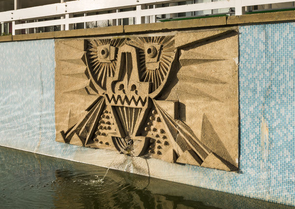 Seven reliefs/mosaics (1963) by William Mitchell, The Water Gardens, Harlow, Essex. Detail view from the south east of relief/mosaic No.4 (ordered from west to east). Photographed by Steven Baker 2015
