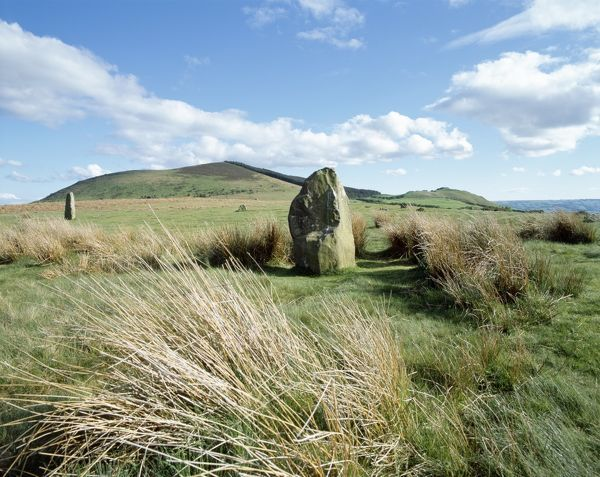 MITCHELL'S FOLD STONE CIRCLE, Shropshire. View of part of the Bronze Age stone circle