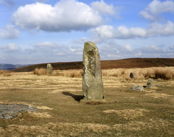 MITCHELL'S FOLD STONE CIRCLE, Shropshire. View of two of the remaining standing stones of the Bronze Age stone circle