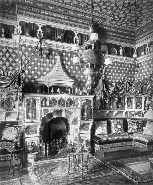 ROLLESTON HALL, Staffordshire. Interior of the Moorish Room (by architect S J Waring & Sons) showing detail of the fireplace. Photographed by Bedford Lemere in March 1892. Home to Lord Mosley, Rolleston Hall was restored after a fire in 1870
