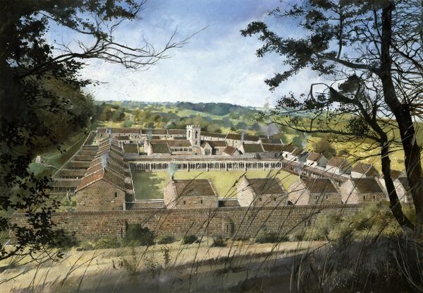 MOUNT GRACE PRIORY. North Yorkshire. Reconstruction drawing by Ivan Lapper. General view of the priory before dissolution