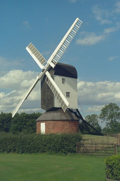 Post mill of 1807, restored to working order by Essex County Council. IoE 373755