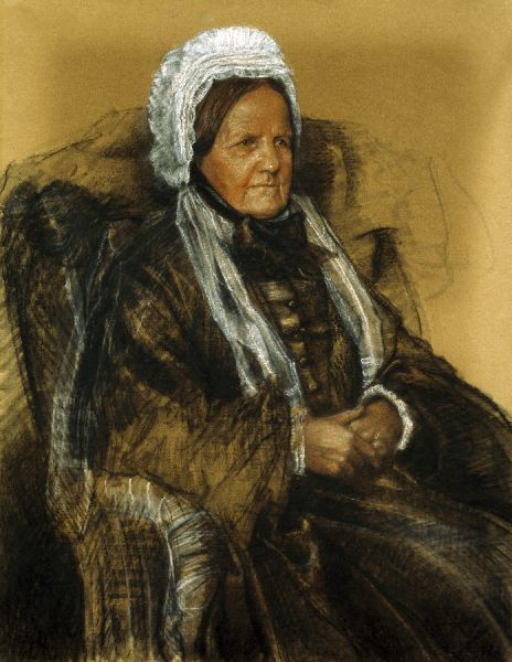 DOWN HOUSE, Kent. Pastel of Emma Darwin by C. F. Murray