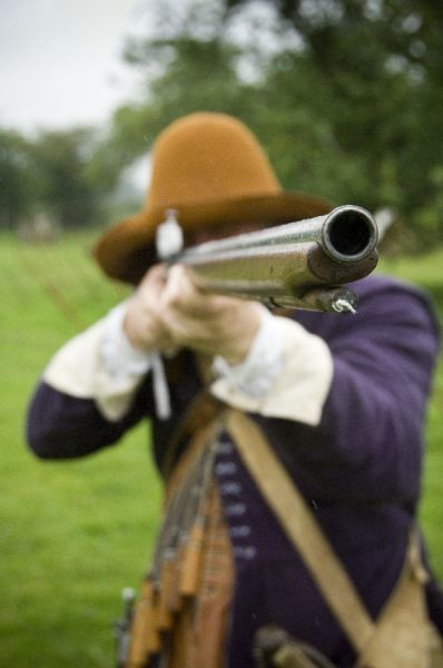 BOSCOBEL HOUSE, Staffordshire. Musketeer at Civil War re-enactment event