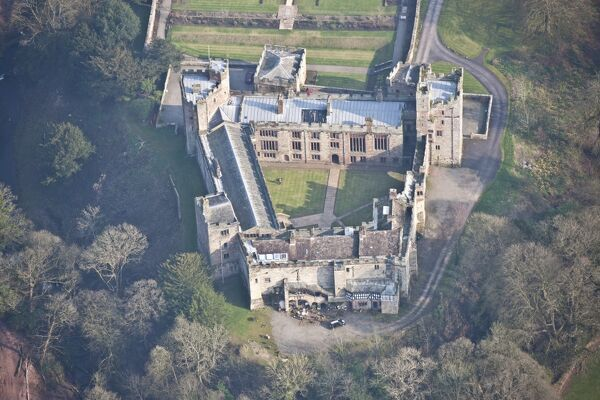 Naworth Castle, Brampton, Cumbria. With 13th century origins the medieval fabric of Naworth has gradually evolved as the seat of the Earls of Carlisle