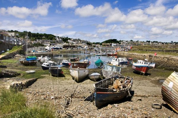 NEWLYN FISHING PORT, Cornwall. View of boats in the harbour