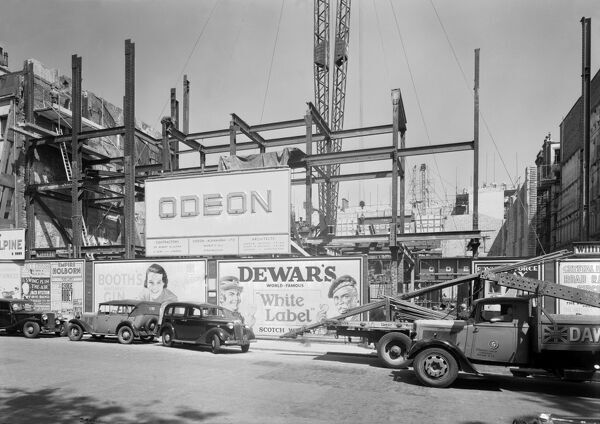 ODEON CINEMA, Leicester Square, London. A photograph taken by John Maltby on 11th June 1937 of the buiding works for the Odeon cinema on the site of the Alhambra Theatre
