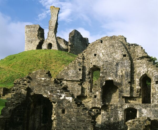 OKEHAMPTON CASTLE, Devon. Motte and remains of keep & bailey buildings