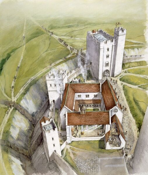 OLD SARUM, Wiltshire. Aerial view reconstruction drawing of the gatehouse and cutaway of the hall and courtyard palace in 1140, by Peter Dunn (English Heritage Graphics Team)
