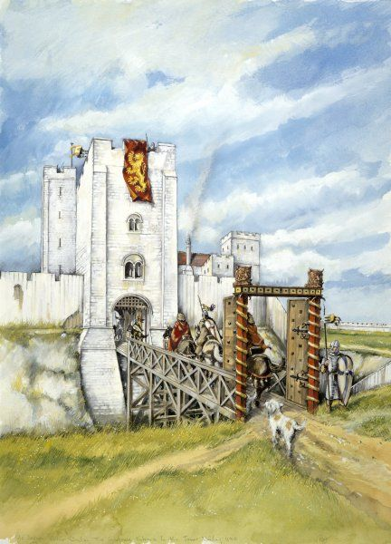 OLD SARUM, Wiltshire. Reconstruction drawing of the castle gatehouse entrance to the inner bailey in 1140, by Peter Dunn (English Heritage Graphics Team)