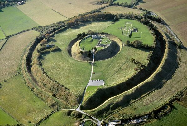 OLD SARUM, Wiltshire. Aerial view