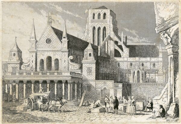 ST PAUL'S CATHEDRAL, St Paul's Churchyard, City of London. View of the West End of the old cathedral in 1660 before the fire of 1666. From the Mayson Beeton Collection