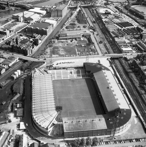 OLD TRAFFORD, Manchester. Aerial view of the home of Manchester United Football Club since 1910. Photographed in 1965. Old Trafford played host to Group 3 matches at the 1966 World Cup. Aerofilms Collection (see Links)