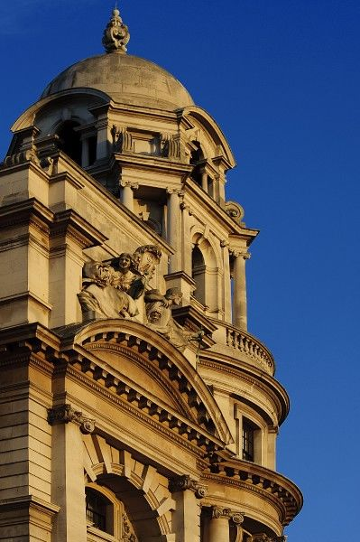 OLD WAR OFFICE, Whitehall, London. Neo-Baroque building. Detailed view of one of the four domes