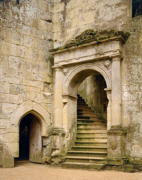 OLD WARDOUR CASTLE, Wiltshire. Grand stairway to the hall