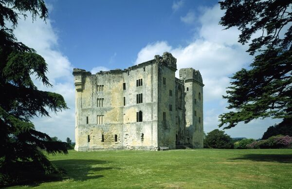 OLD WARDOUR CASTLE, Wiltshire. General view of the castle and grounds from the east