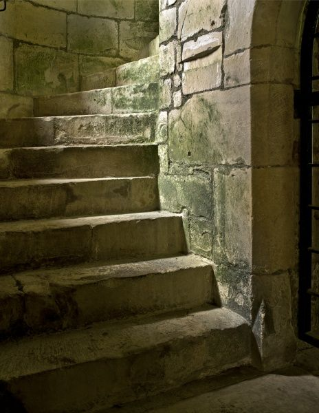 OLD WARDOUR CASTLE, Wiltshire. Detail of spiral staircase