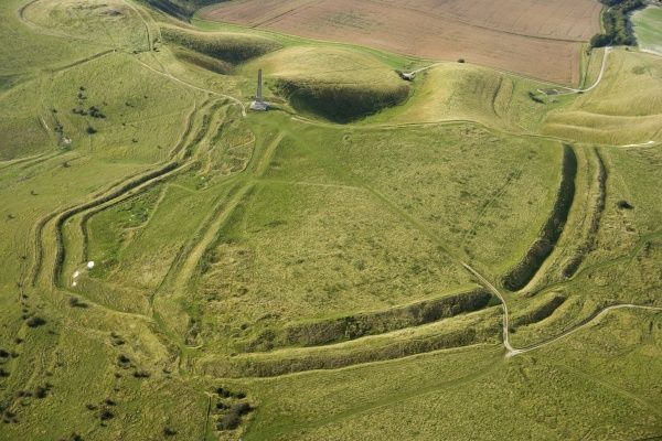 CHERHILL DOWN, Wiltshire. General aerial view of the hillfort known as Oldbury Castle