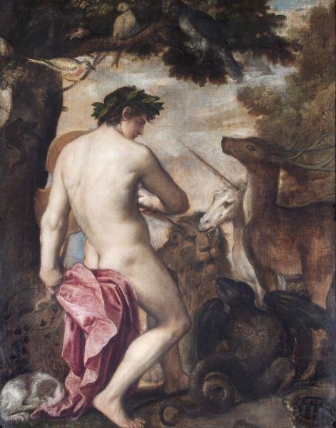 "APSLEY HOUSE, London. ""Orpheus enchanting the animals"" by Venetian School, possibly Alessandro Varotari, Il PADOVANINO (1588-1648). Previously from the Spanish Royal Collection. Captured at Vitoria 1813. WM 1582-1948"